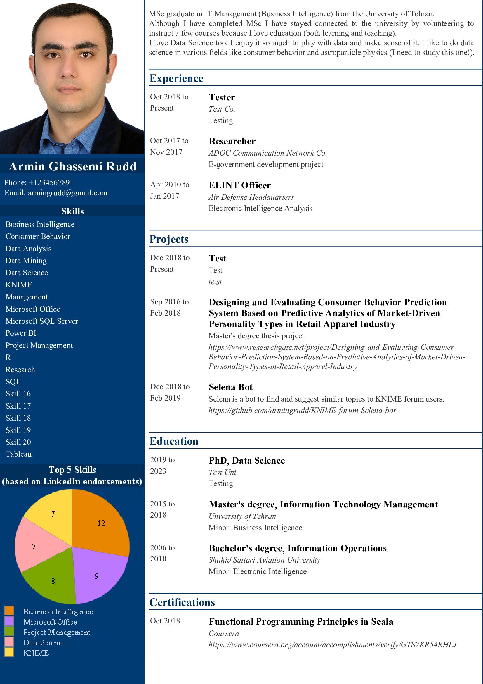 CV builder based on LinkedIn profile - KNIME Analytics Platform