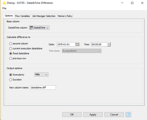 Convert date to UNIX timestamp - KNIME Analytics Platform