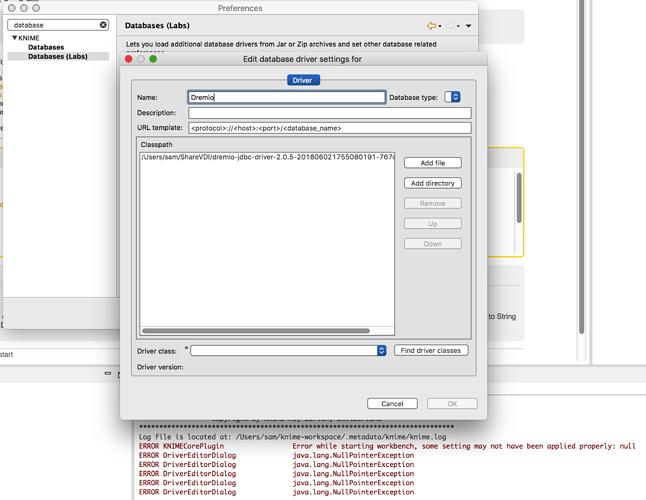 KNIME error when loading Dremio JDBC Driver - KNIME