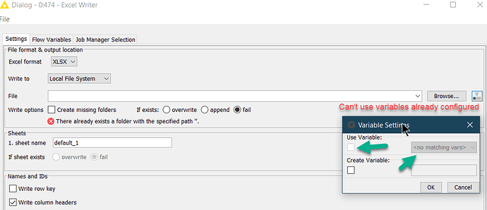 20201222 - Knime Excel Writer - New Cant Select Variables
