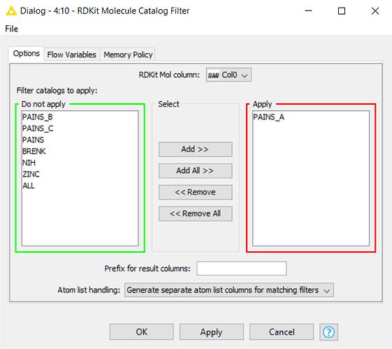 RDKit Molecule Catalog Filter Configuration