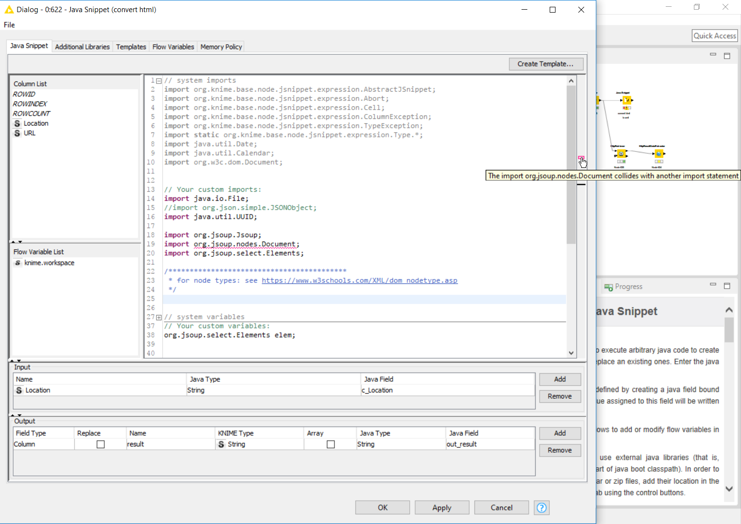 java snippet node import collision with system imports - KNIME