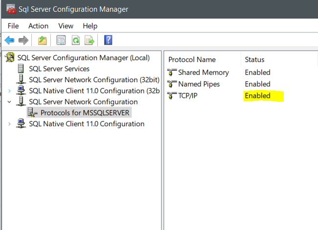 Problem connection to local SQL Server 2017 installation