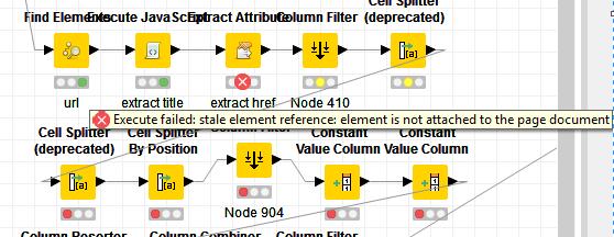 Selenium node workflow / Page parsing help for error