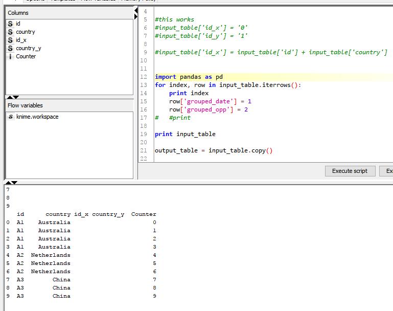 python script node pandas dataframe - KNIME Analytics