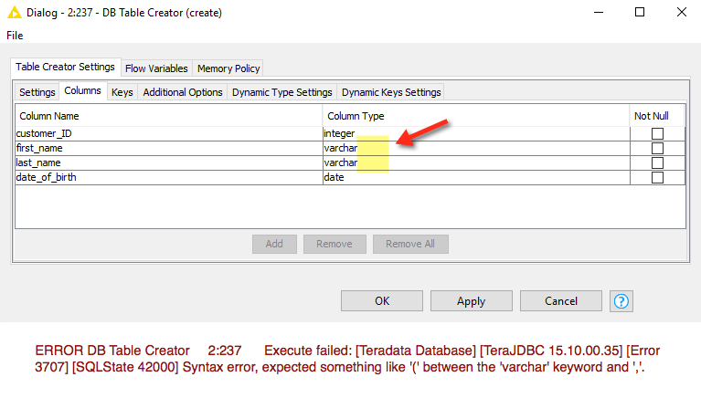 New 3.6 DB Nodes - DB Table Creator varchar issue - KNIME Extensions