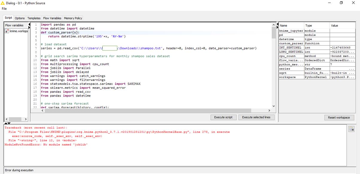 ModuleNotFoundError: No module named 'joblib' - Scripting