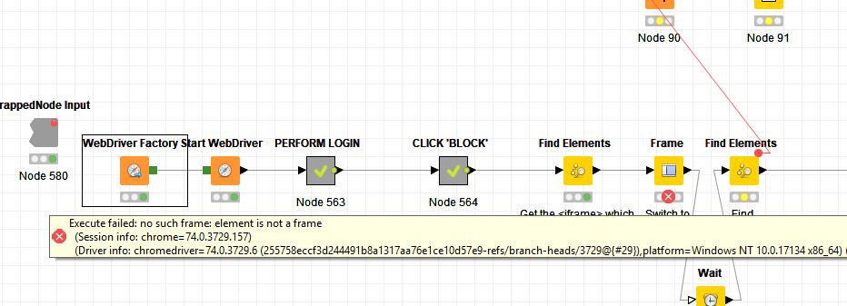 Selenium / Frame node error help - Palladian & Selenium