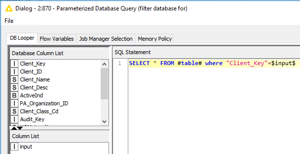 Parameterized Database Query - KNIME Analytics Platform