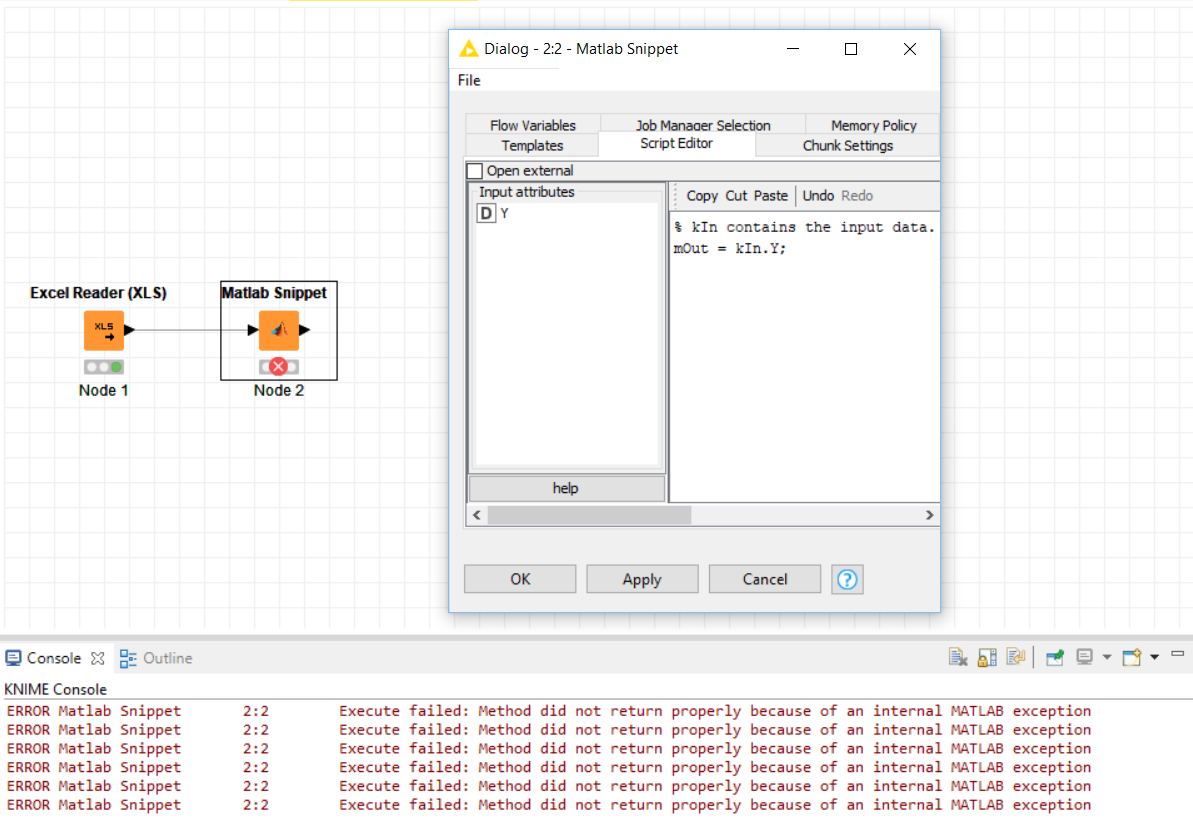 Matlab snippet not working, need help - KNIME Analytics Platform