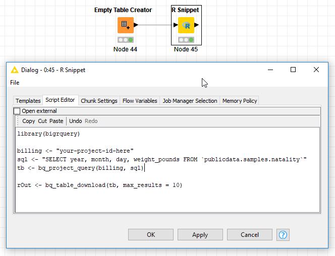 connecting to Google BigQuery via `bigrquery` - Scripting