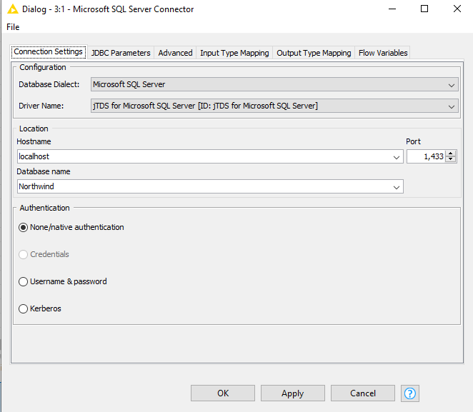 KNIME SQL connection