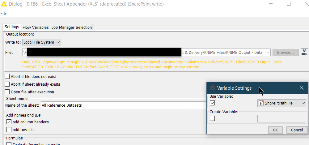 20201222 - Knime Excel Writer - Deprecated Variables